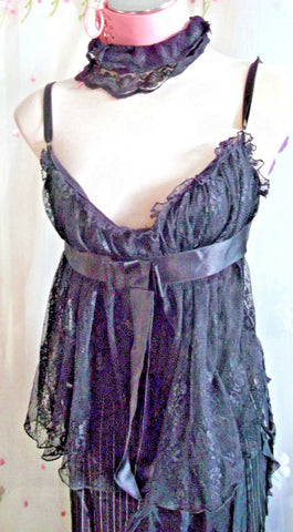 Black Lace Corset Style Top Size 12: Emo/goth ,STRAPPY. SEXY SIZE12