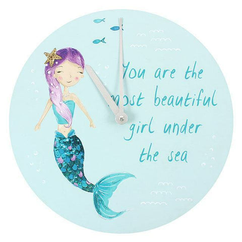 Melody the Mermaid Wall Clock.34cm diam. Kiddies.Gift H:34.00cm x W:34.00cm x D: