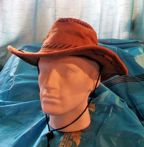 VINTAGE UNISEX Grade A rust brown SUEDE EFFECT  long brim bush/safari hat.19