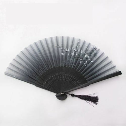 Chinese Japanese Folding Hand Held Fan Black Fan Silk Plum Flower Bamboo Pocket