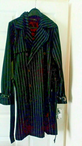 CRIMINAL DAMAGE- GOTH/EMO/PUNK BLACK WHITE STRIPE CORSET COAT VGC.SIZE M