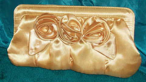 evening wear-gorgous Gold satin flower design clutch bag with silver strap
