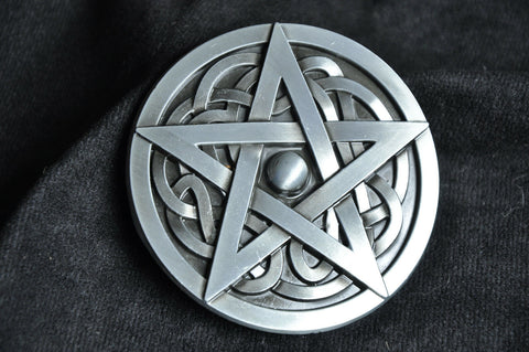 Western Men Silver Pentacle Knot Pentacle Star Rodeo Belt Buckle Wicca