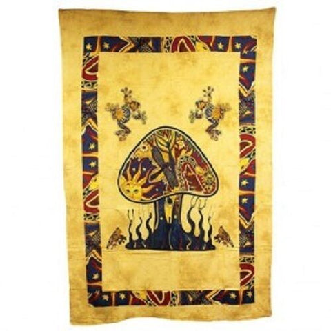 PAGAN/SPIRITUAL Mushrooms& dragonfly Iconic Indian wall hanging./DOUBLEbedspread