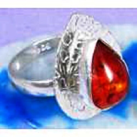 FUNKY Pressed Amber & 925 Silver Handmade Stylish Ring Size 7 G76-32531