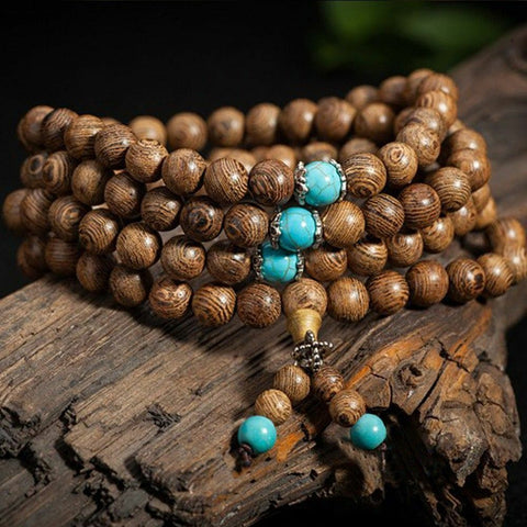 Bangle Mala Wenge Prayer Wood 6mm 108 Beads Tibetan Buddhist Buddhist Bracelet