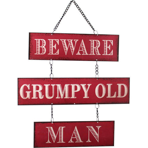 SHABBY CHIC/RETRO Grumpy Old Man RED metal sign-30cm tall-GIFT ITEM/STOCKING