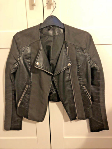 2 TONE-FAUX LEATHER, BLACK H&M BIKER Leather Jacket - size 8