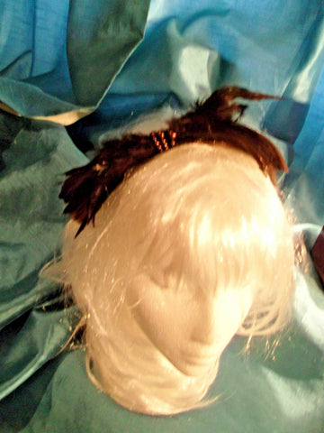 gorgeous brown hand made feather fascinator-headband-special occasions/weddings/