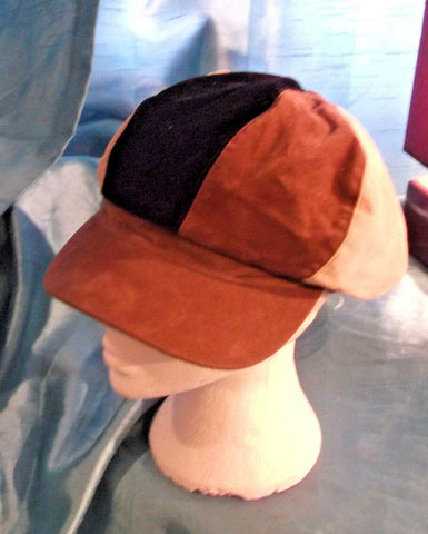punk vintage brown suede/cream,brown& black bakers boy/peaky blinders/gatsby hat