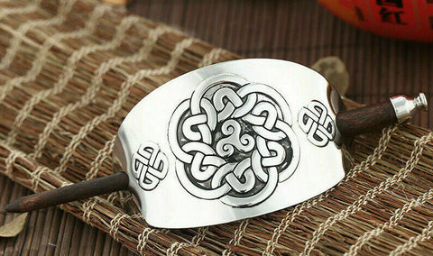 Women Wooden Carved Hair Stick Barrette Bun Pin Clip Zinc Alloy Hair Accessories