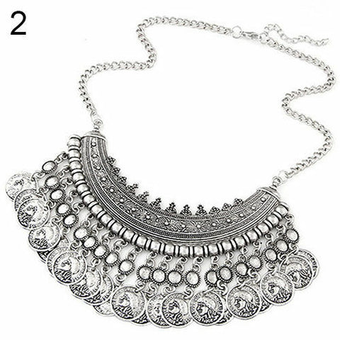 BOHO ANTALYA GYPSY FANTASTIC TURKISH COIN COLLAR BIB CHOKER STATEMENT NECKLACE