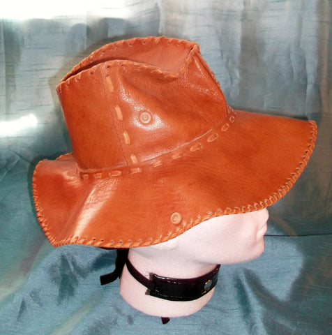 HIPSTER VINTAGE UNISEX Grade A rust brown  LEATHER long brim bush/safari hat.19