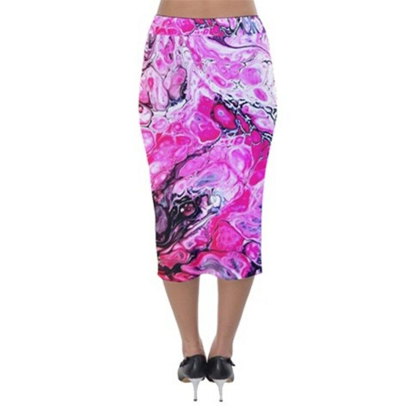 PINK FEARExclusive Original Designer Velvet Midi Pencil Skirt Size:Medium10-12uk