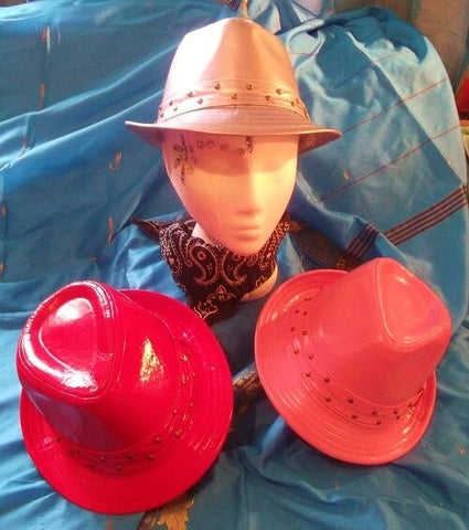 Gangstar/CosPlay/Top hat/Trilby all *NEW*Fancy Dress-Pink/red/silver with studs