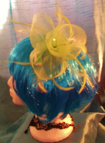 STEAMPUNK/BURLESQUE GREEN FEATHER Fascinator-wedding/prom/event/halloween party