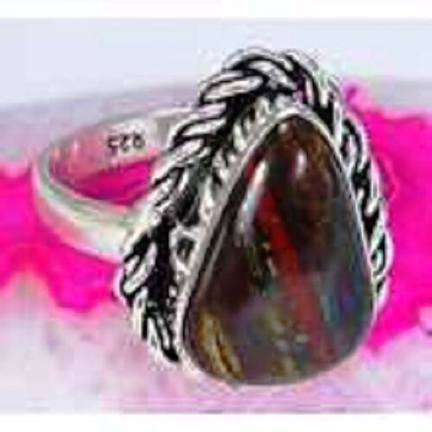 FUNKY Iron Tiger Eye & 925 Silver Handmade Lovely Ring Size R G78-33193