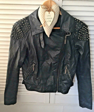 FUNKY BLACK BIKER JACKET Faux Leather studded Jacket 10,BUCKLE