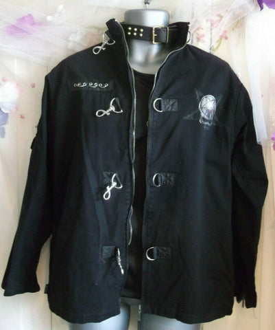 punk/goth Spiral goth black jacket with full size print on back. Size Medium