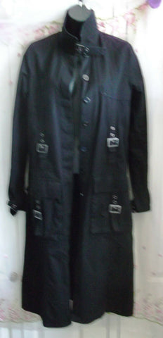 BLACK PUNK/Gothic Long Black canvas Trench Coat Buckles & buttons,.SIZE 10 UK