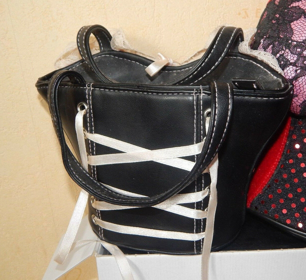 new BUSTIER STYLE HANDBAG-black ,pink lacy Ltd.Ed. 8