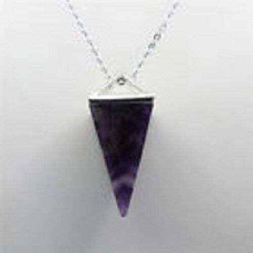 Natural Gemstone AMETHYST Crystal Healing Chakra Reiki Silver Pendant Necklace