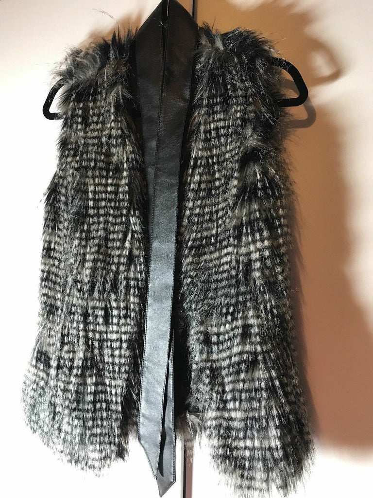 Ladies Faux Fur  Gilet Black And Grey feathers fauxLeather Tie Waist Size 8
