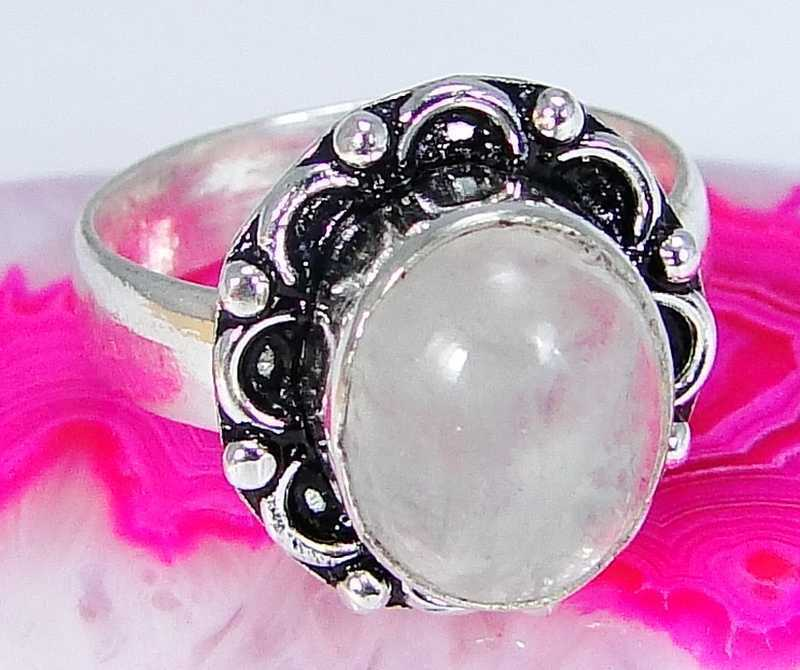 Rose Quartz & 925 Silver Handmade Lovely Ring Size P & gift-box