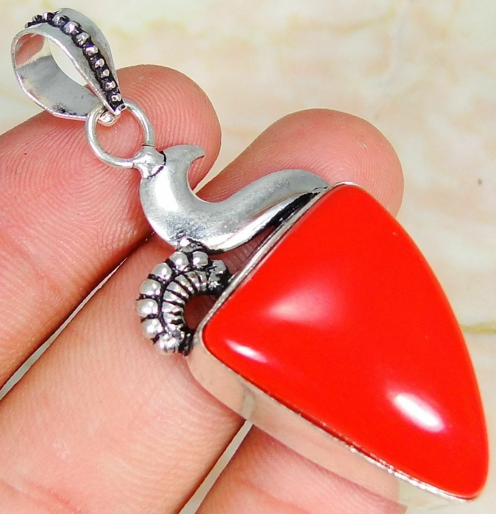 Red Coral & 925 Silver Handmade Stylish Pendant 55mm & gift-box &s silver chain