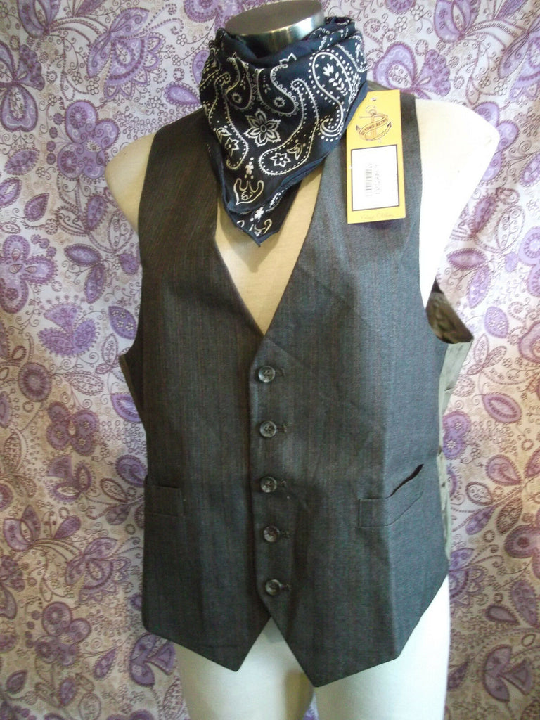 funky Steampunk/TrueVintage mens/unisex BROWN PINSTRIPE-RED/BL Waistcoat-Size42