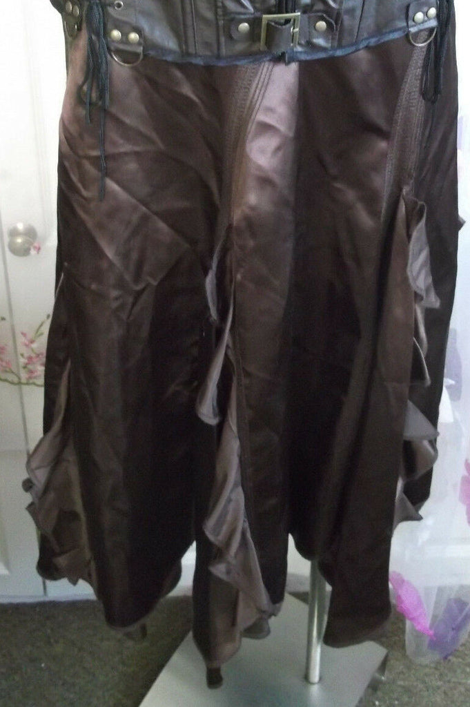 Wallis Size 12 Skirt In Brown satin, ruffled design. Ideal Steampunk.calflength