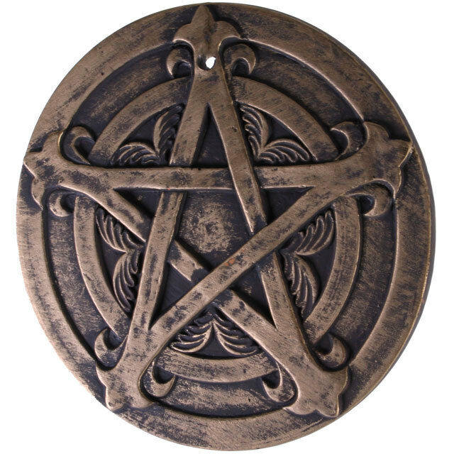 pagan  terracotta Pentagram plaque.20CM across.Lisa Parker.in/outdoor