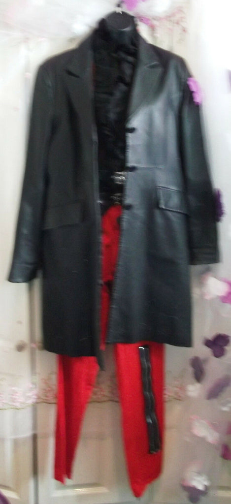 black Genuine Ladies LIEMA Branded Black Leather Coat. knee length.12/14uk