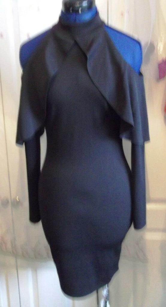 black Boohoo dress 10 new with tags.cut-out shoulder, mandarin collar.stunning
