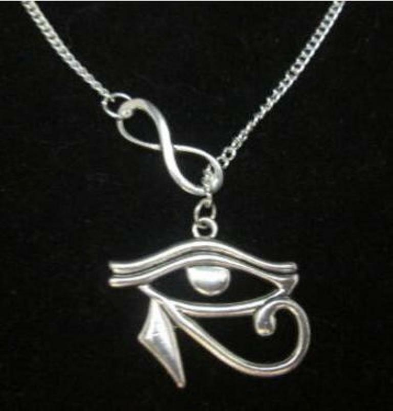 Eye of Horus lariat infinity necklace, amulet wicca pagan positive energy