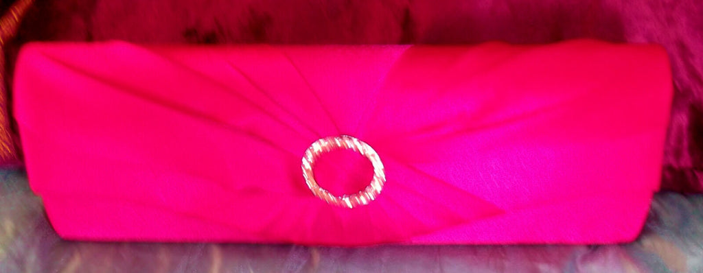 Pink satin clutch bag with chain strap & diamante detail. large. party accessory