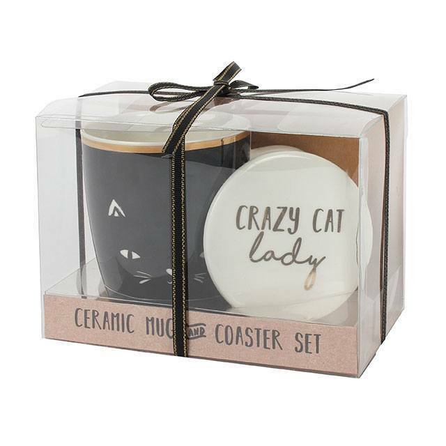 Crazy Cat Lady Mug and Coaster Set. GIFT H:12.00cm x W:16.00cm x D:9.70cm