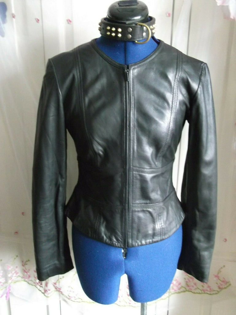 Vintage  BLACK leather biker/STEAMpunk/hip jacket.size8 ZIP FRONT,no collar. M&S
