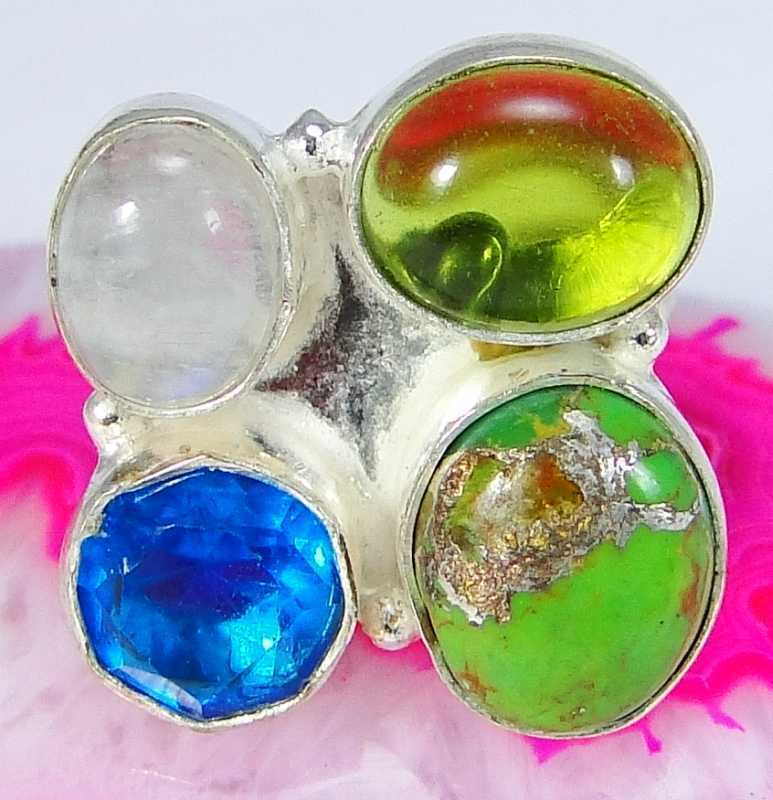 Rainbow Moonstone & 925 Silver Handmade Elegants Ring Size N & gift-box