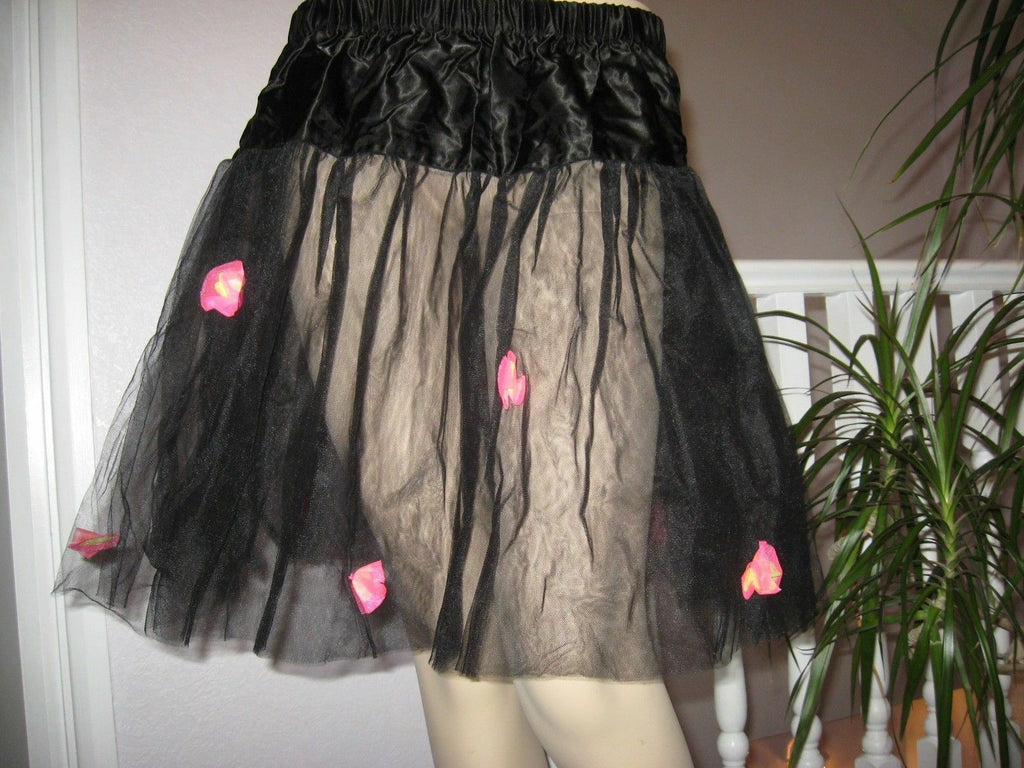 OOAK Sheer Black neon pink flowers nett skirt One size Goth Party Lolita Dance
