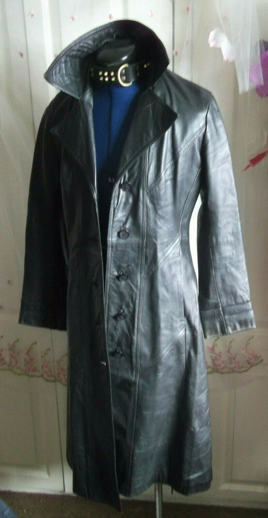 VintageUNISEX BLACK leather biker/STEAMpunk/hip COAT.size10