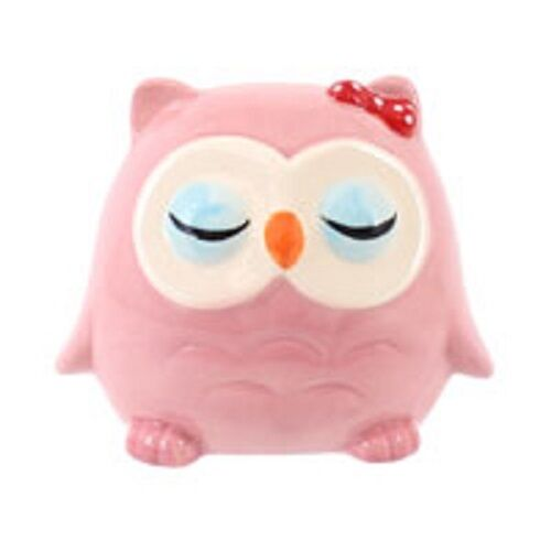 OWL money box-BLUE OR PINK  hand-painted H:15cm W:8.5cm D:8.5cm PERFECT GIFT