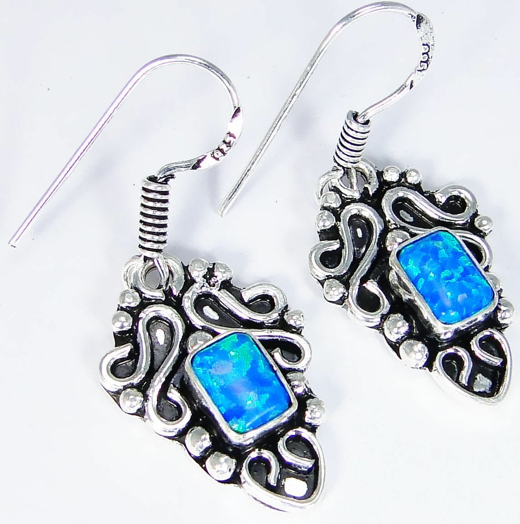 Blue Fire Opal & 925 Silver Handmade Designer Earrings 39mm & gift box