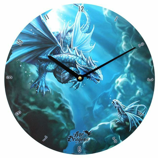 PAGAN/WICCAN/ Water Dragon Wall Clock by Anne Stokes.34cm diam.