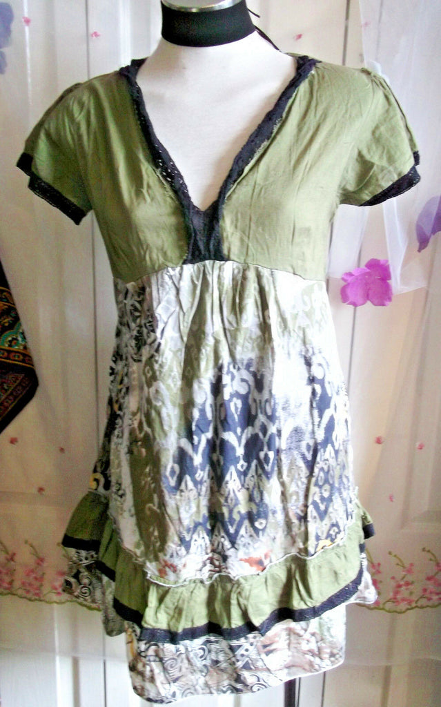 Boho/Festi/Beach/green smock top,cotton,size L,new,knee length,elastic waist,tie
