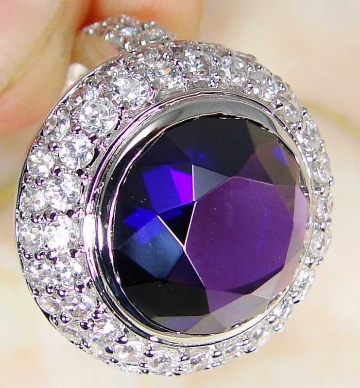 Quartz Amethyst & 925 Silver Handmade Fashionable Ring Size J & gift-box