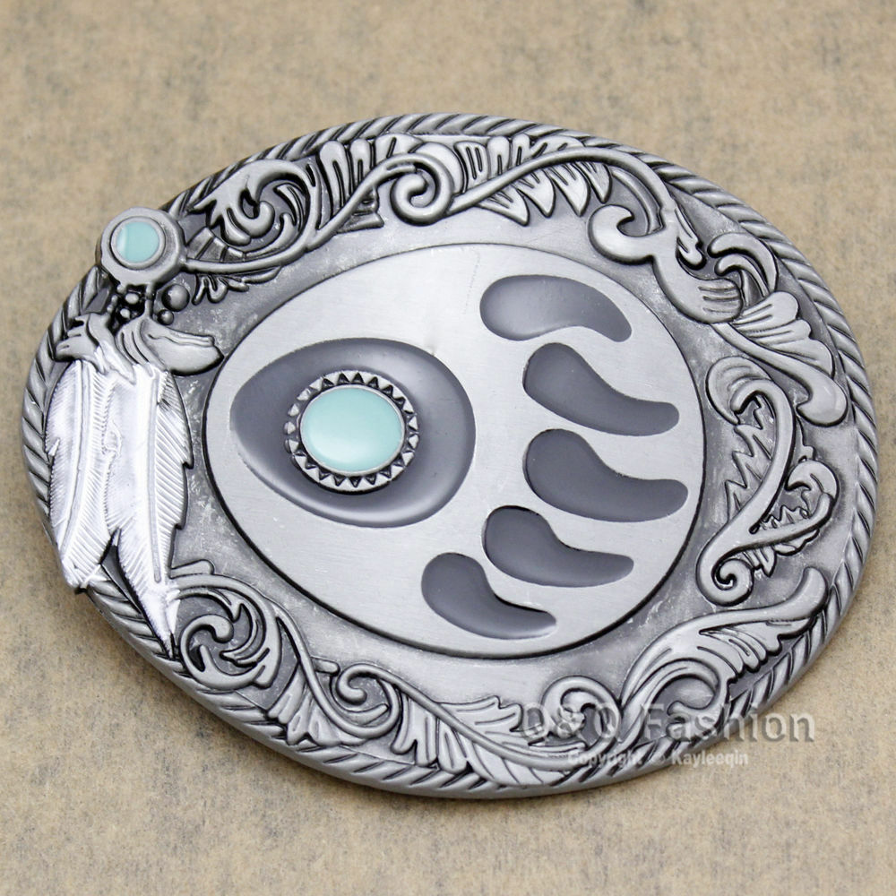 Silver Bear Paw Claw Grizzly Tracker Feather Belt Buckle