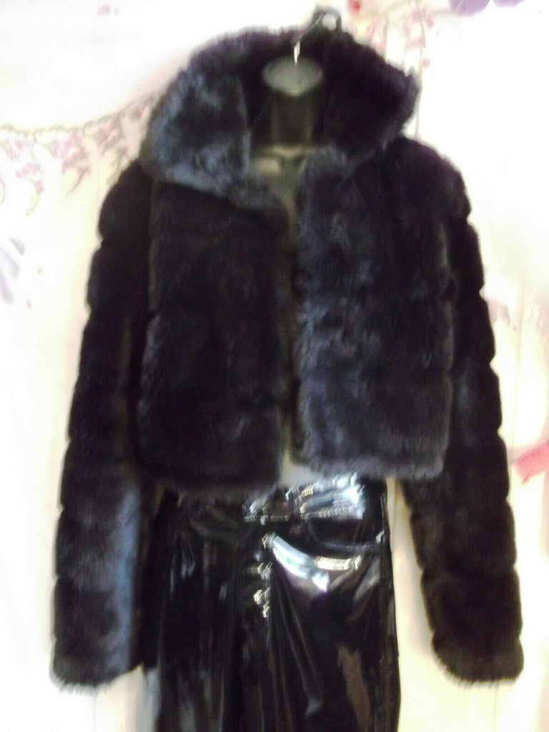 NEW GOTH/PUNK/black faux fur shrug SIZE 16, elegant, LINED,CROPPED.LONG SLEEVE