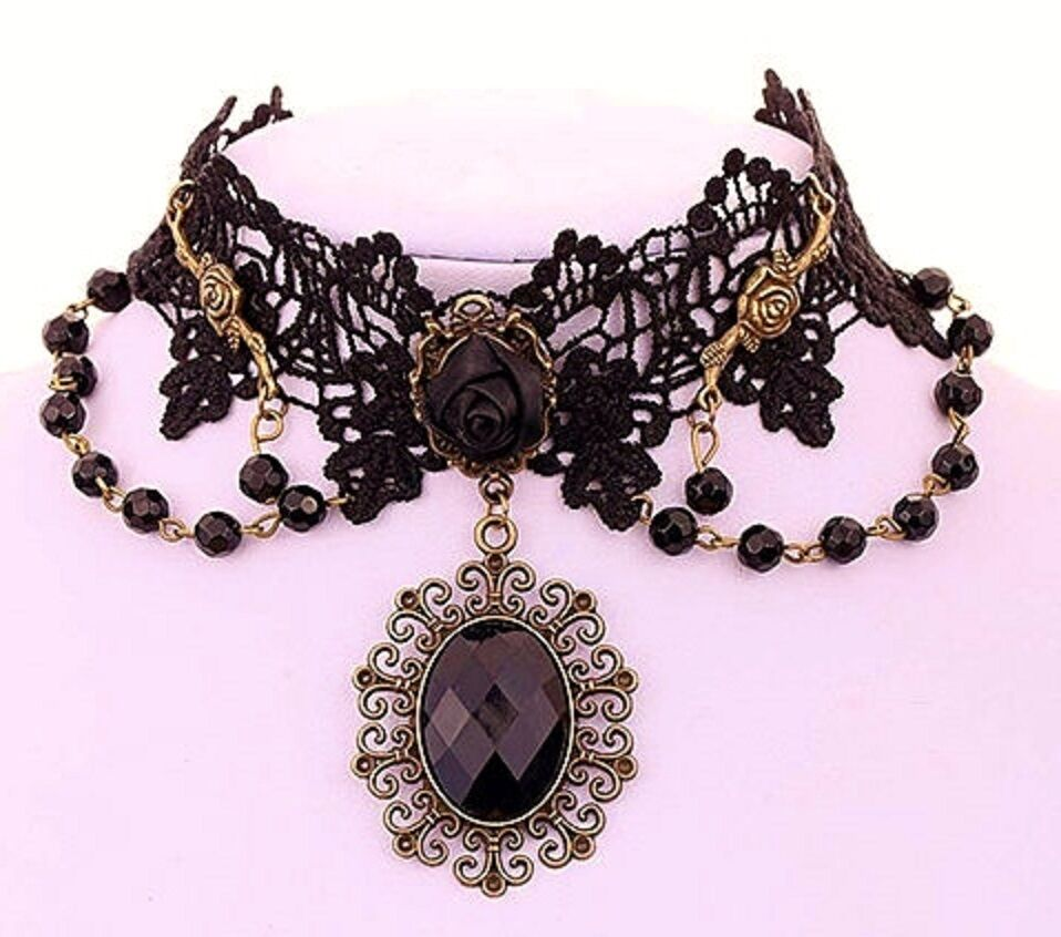 Vintage Lolita Gothic Black Rose Flower Lace Choker Collar Necklace Beads Chain