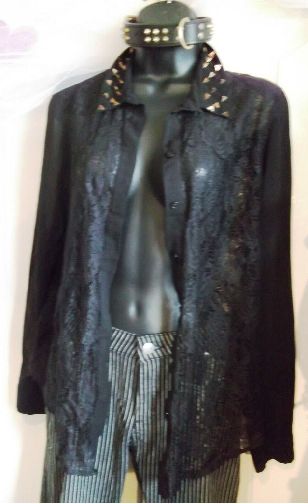 BLACK Sparkle & Fade Black Lace Shirt With Collar Stud Detail Size M 10-12